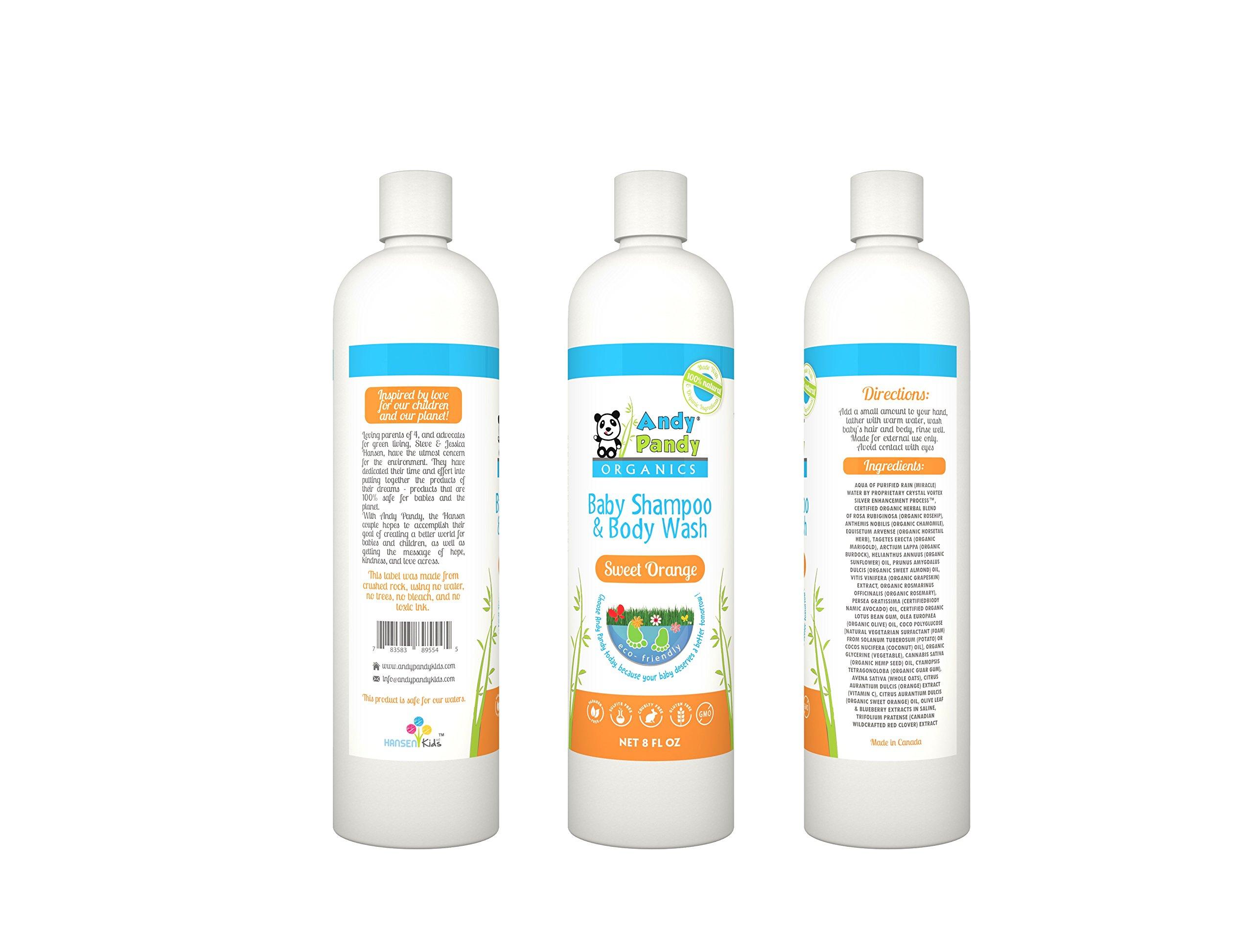 Andy Pandy Organics 100% Natural & Organic Baby Body Wash & Shampoo (8 fl oz, Sweet Orange)
