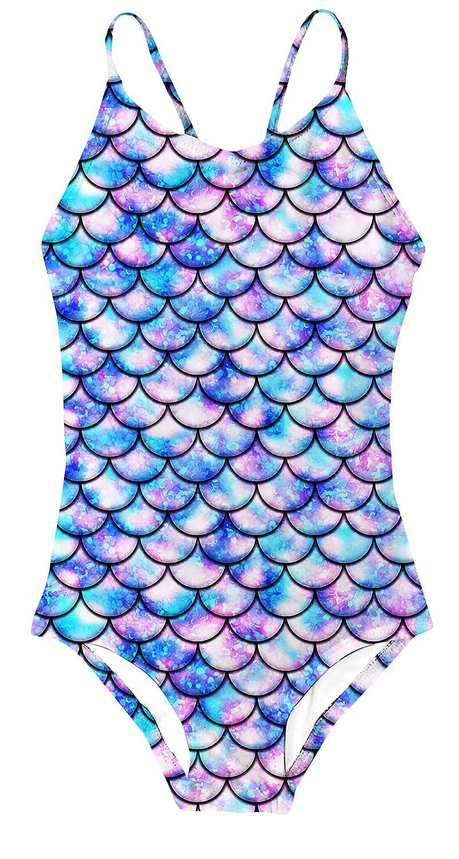 YRCUONE Girls One Piece Swimsuit All Over Print Mermaid Swimwear Summer Beach Tankini Bathing Suit 3-10 Years