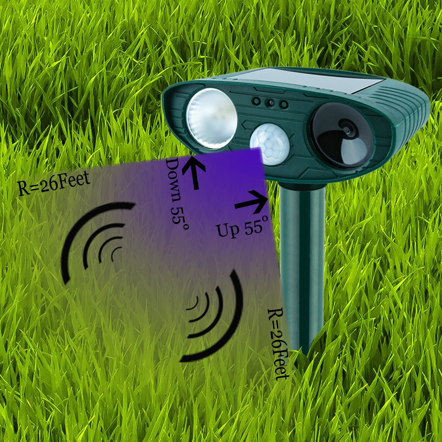 EPL Animal Repellent Outdoor Small Animal Repeller with Ultrasonic and warning light for Cat Dog Squirrel Raccon Rabbit