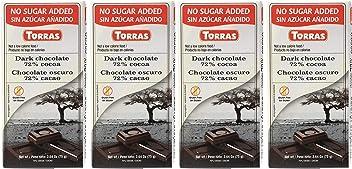 Torras Sugar Free and Gluten Free Dark Chocolate Bar - 72% Cocoa (4 Pack