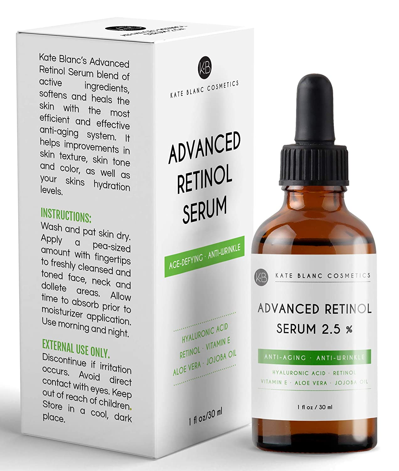 Retinol Serum 2.5% with Hyaluronic Acid & Vitamin E, C for Face, Acne Scars, Dark Spots by Kate Blanc. High Strength Anti-Aging Topical Facial Serum Without a Prescription. Organic Ingredients (4oz)