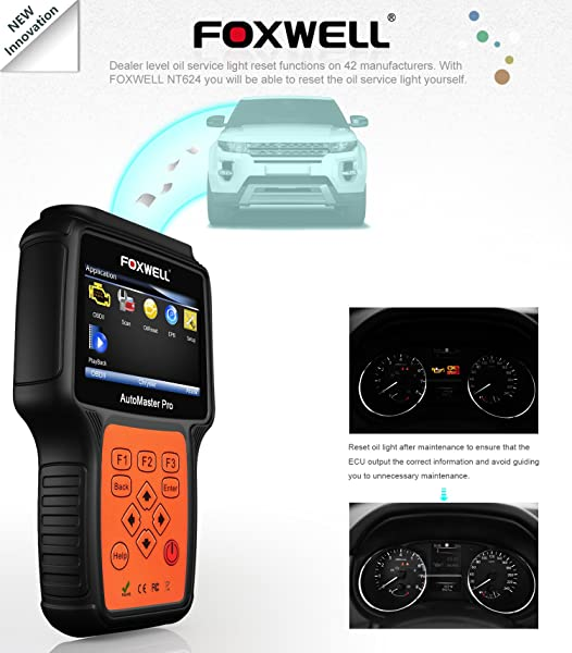 FOXWELL NT624 PRO is a car computer diagnostic tester for all cars that identifies the vehicle you are testing rapidly
