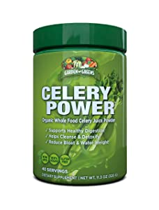 Garden Greens Celery Power Organic Celery Juice Powder, Unflavored, Organic, Supports Healthy Digestion, 11.3 Oz. (40 Servings)