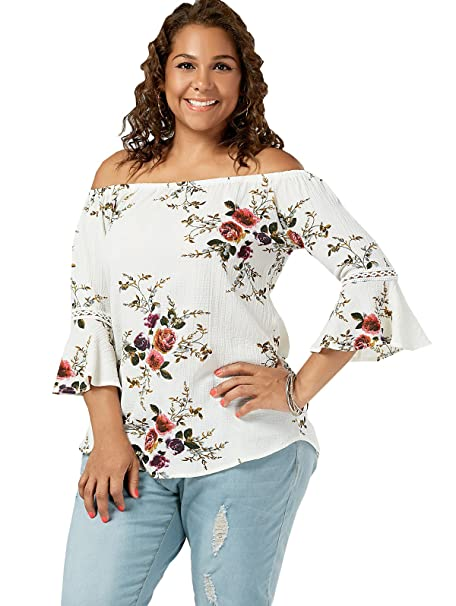 0be71489e2e Amordaily Plus Size Flower Chiffon Off The Shoulder Top - White at ...