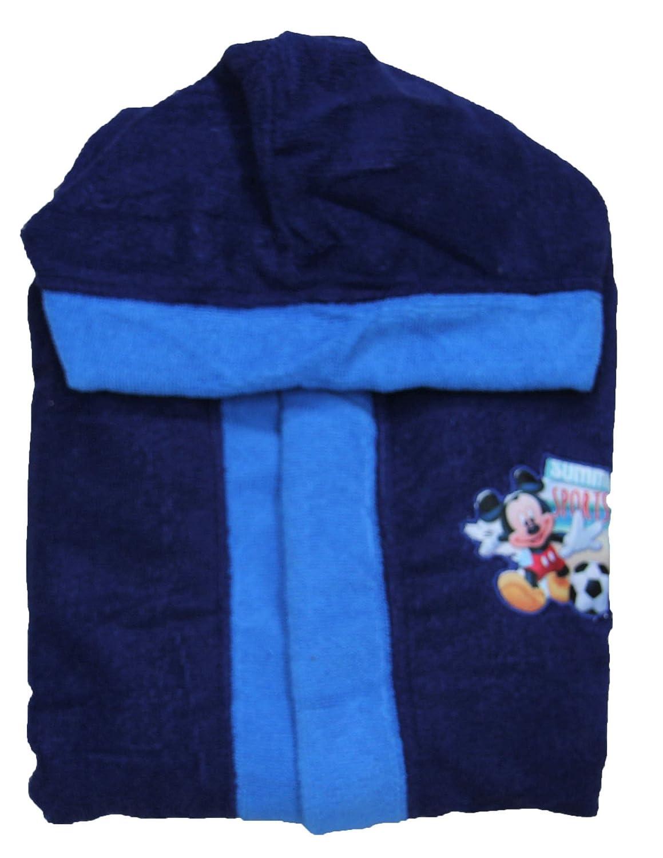 Accappatoio bambino disney topolino Mickey Mouse cappuccio e cintura in vita blu-celeste taglia 7/8 anni