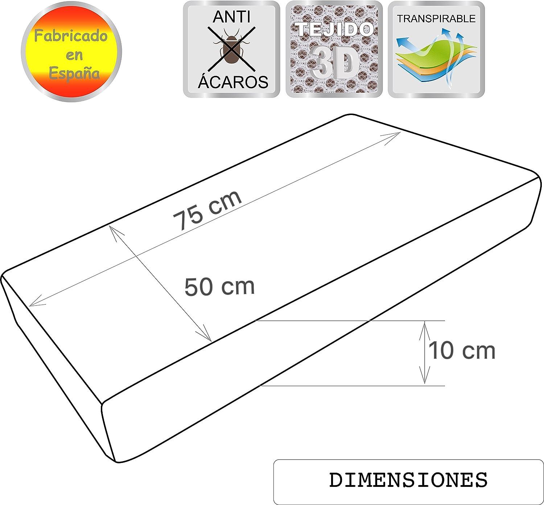 Pekitas Colch/ón minicuna 50 x 75 cm,Funda Tejido AloeVera Ergon/ómico Transpirable Antiahogo con cremallera lavable interior espuma blanca,Fabricado en Espa/ña