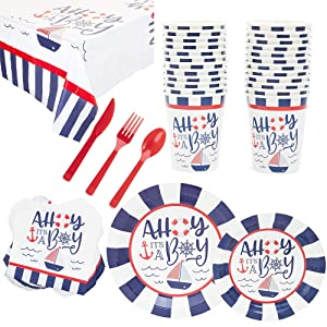 Nautical Baby Shower Party Pack, Dinnerware Set with Tablecloth (Serves 24, 169 Pieces)