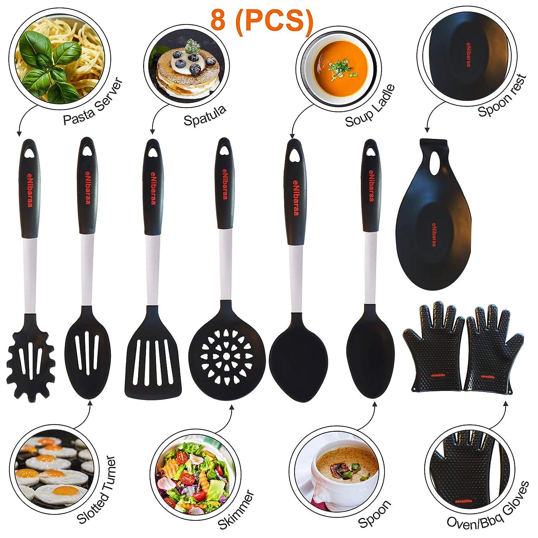 ENibaraa Küchenutensilien Silikon und Edelstahl 8-Teiliges Set, Küchenhelfer Küchenhelfer Küchenhelfer B01DCNN670 Spaghettilffel & Pastaheber f52317