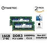 Timetec Hynix IC Apple 16GB Kit (2x8GB) DDR3 1600MHz PC3-12800 SODIMM Memory upgrade For MacBook Pro13-inch/15-inch Mid 2012, iMac 21.5-inch Late 2012/ Early/Late 2013(16GB Kit (2x8GB))