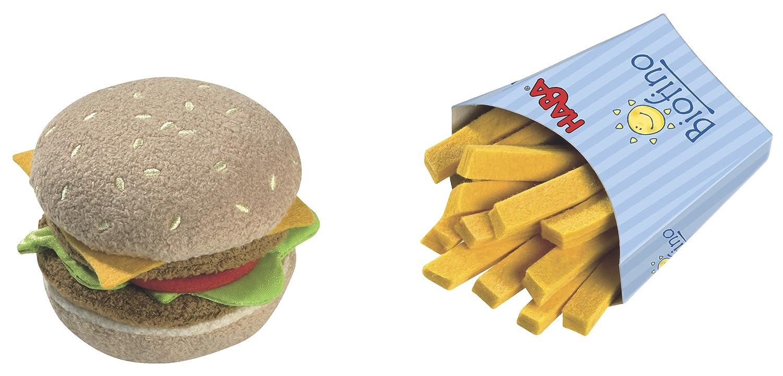 HABA Biofino Hamburger and French Fries - Machine Washable Plush Pretend Play Food