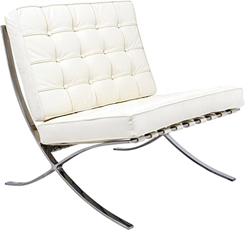 LeisureMod Bellefonte Modern Ivory Leather Tufted Accent Chair