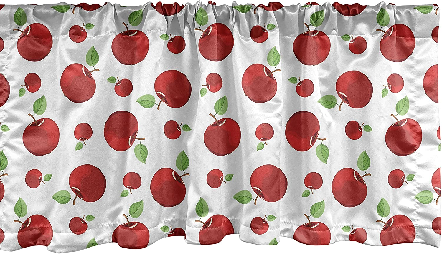 Ambesonne Apple Window Valance, Vivid Colored Cartoon Style Ripe Red Apples Vitamins Taste Healthy Food, Curtain Valance for Kitchen Bedroom Decor with Rod Pocket, 54
