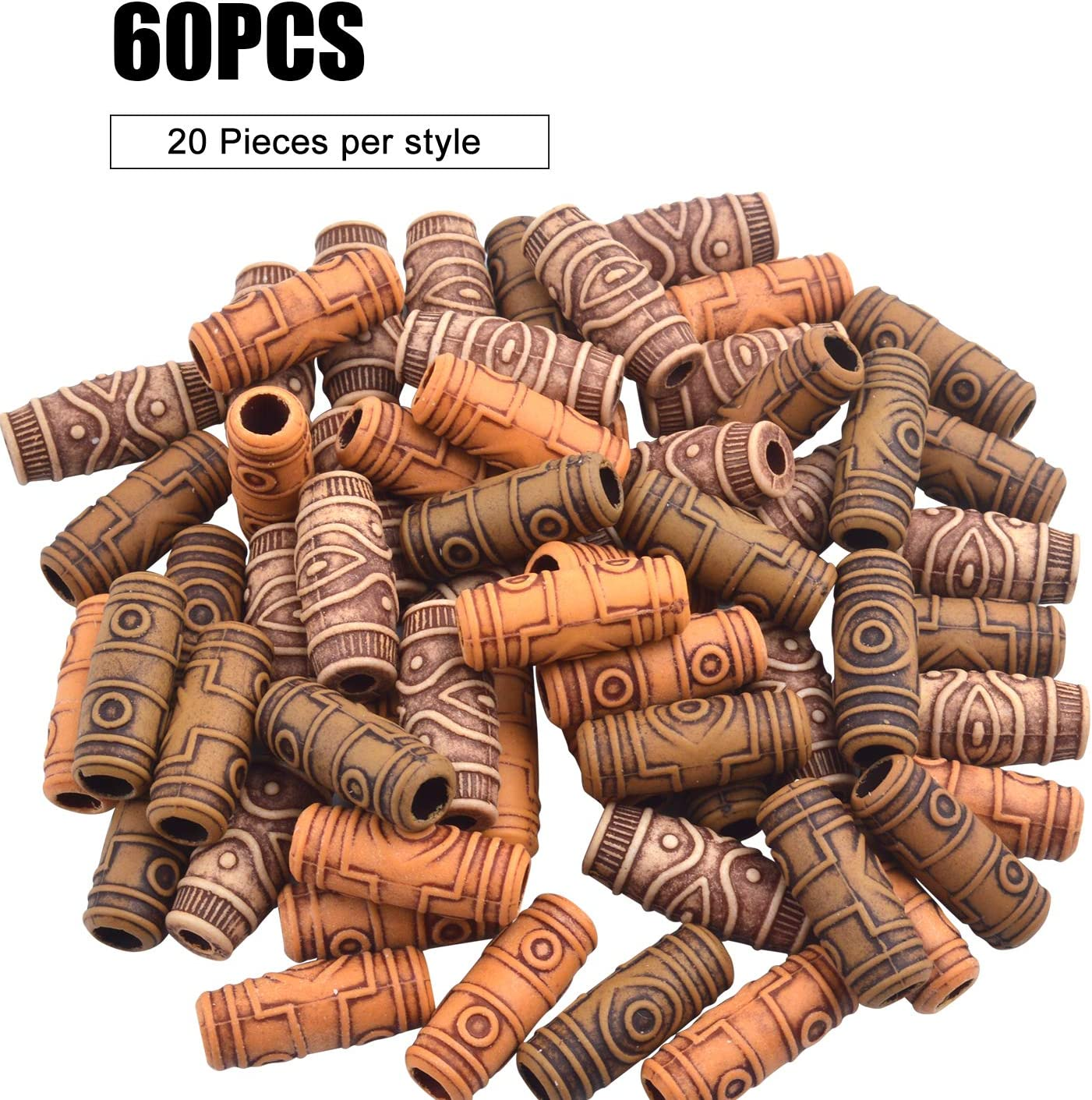 Pack of 20 Wooden Salon Large Hole Round Spacer Hair Beads for DIY Projects