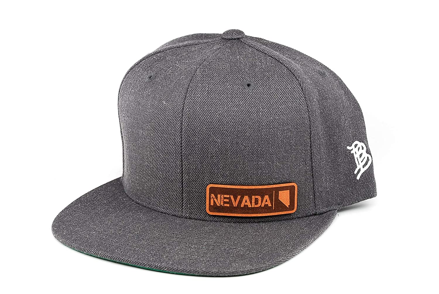 Branded Bills /'Nevada Native Leather Patch Snapback Hat OSFA//Charcoal