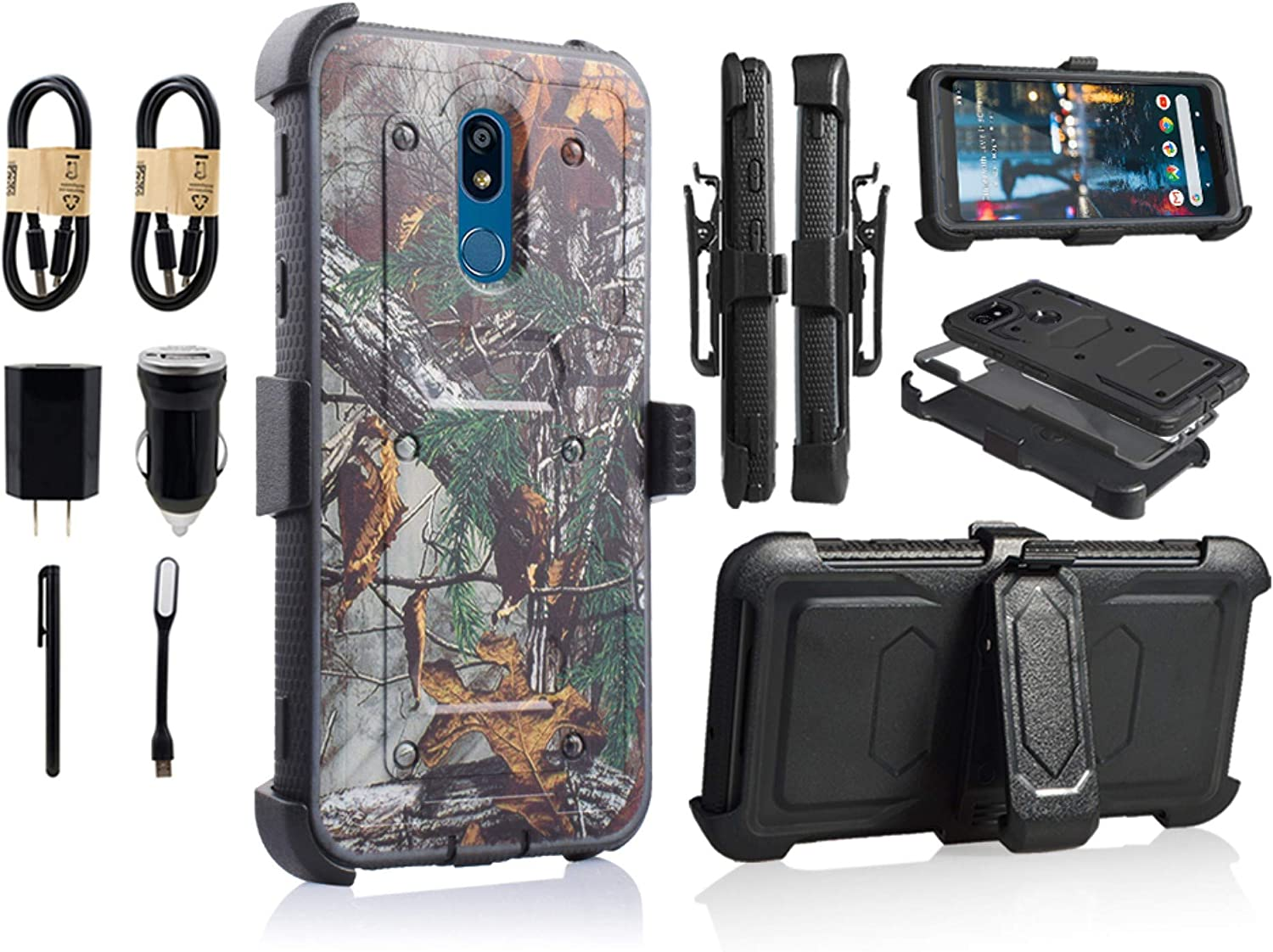 for LG Stylo 5 Case,LG Stylo 5 Phone Case with Kickstand,[Built-in Screen Protector] Heavy Duty Full-Body Armor Swivel Belt Clip Protective Case Cover [Accessory Pack] (Camo)
