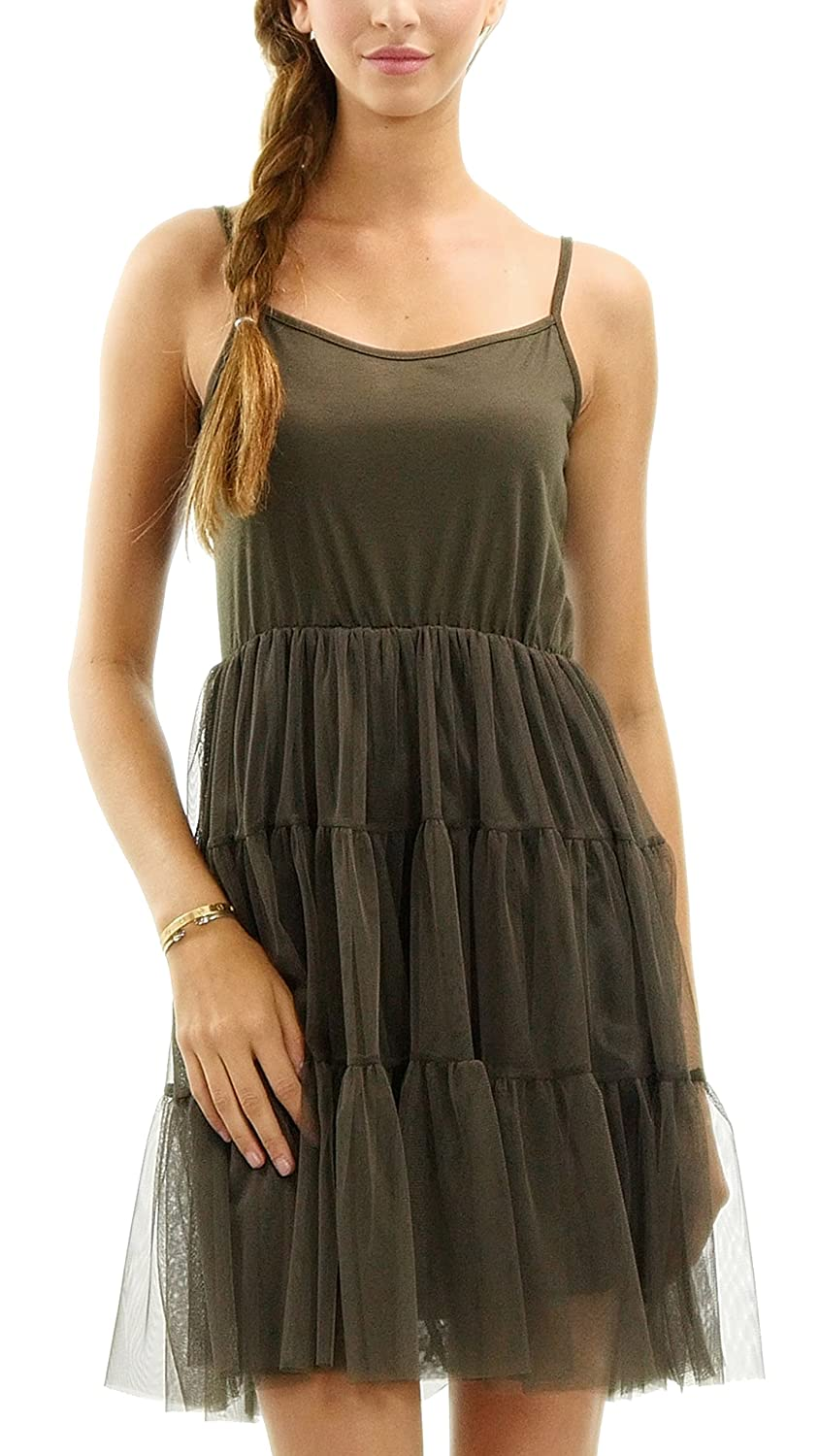 [Shop Lev] Women's Slip Dress with Tiered Mesh Skirt and Adjustable Straps