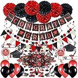 ZERODECO Graduation Decorations, Black and Red Congrats Grad Banner Paper Pompoms Hanging Swirls Graduation Confetti Paper Ga