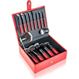 SHANY Vanity Vox 15 Piece Premium Cosmetics Brush Set with Stylish Storage Box and Stand, Red