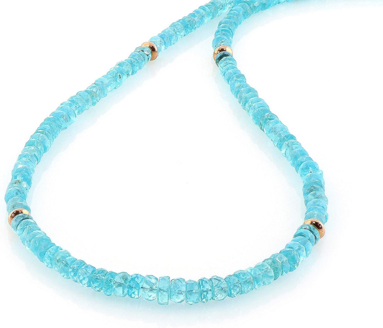 Collar de apatita azul cielo de 4,5 mm, cadena y cierre chapados en oro de plata de ley, collar de piedras preciosas de Apatita para ella