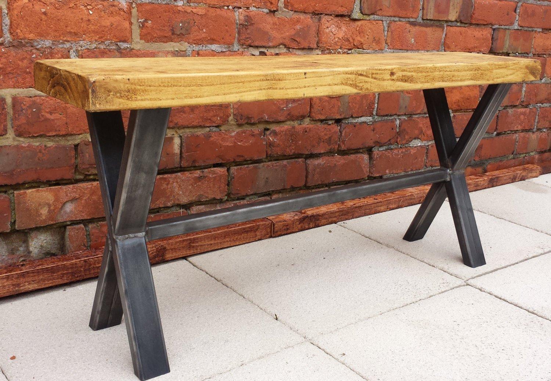 Bench rustic seat with metal X frame base: Amazon.co.uk: Handmade