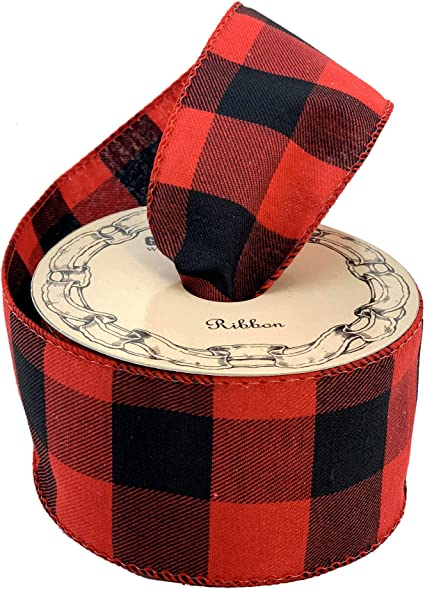 """Lot of 5 Yards Wire Edge Ribbon 2 1//2/"""" wide Red Gray Black Buffalo Plaid Rustic"""
