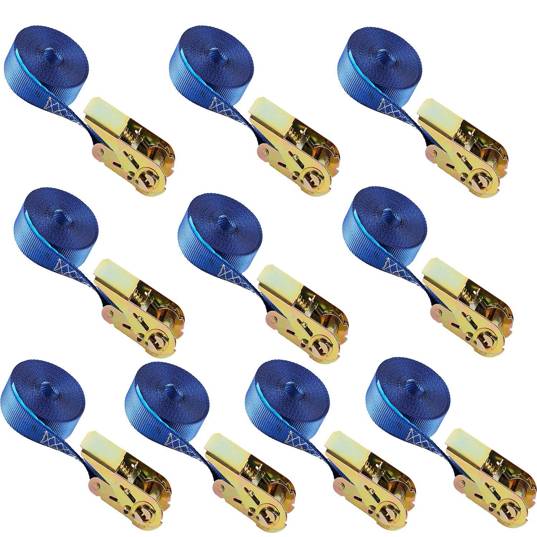 4 x Sangles d' arrimage spanngurt 6m Camion 2500/5000 kg Bleu clair EverBest4U