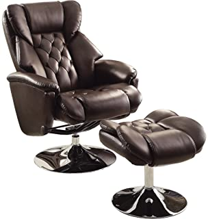 homelegance 8548brw1 swivel reclining chair with ottoman dark brown bonded leather match