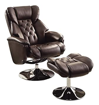 Lovely Homelegance 8548BRW 1 Swivel Reclining Chair With Ottoman, Dark Brown  Bonded Leather Match