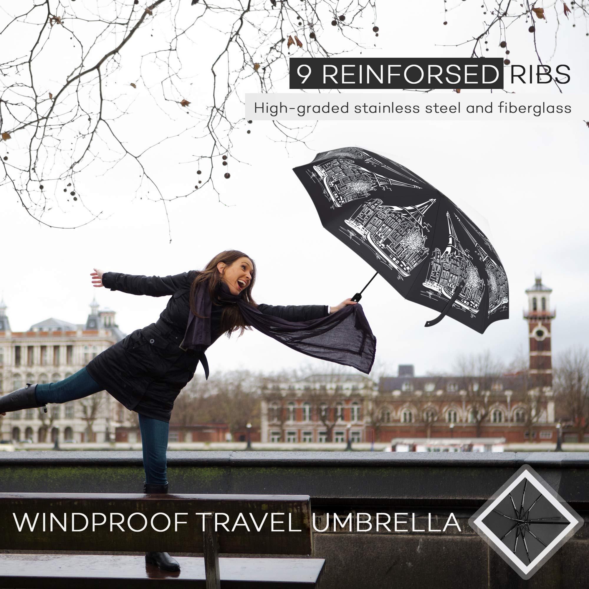 Compact Travel Umbrella - Windproof Water Repellent Teflon Coating - Auto Open Close (Black Elegance)