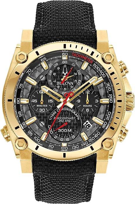 Amazon.com: Mens Bulova Precisionist Chronograph Gold Tone Black Strap Watch 97B178: Watches