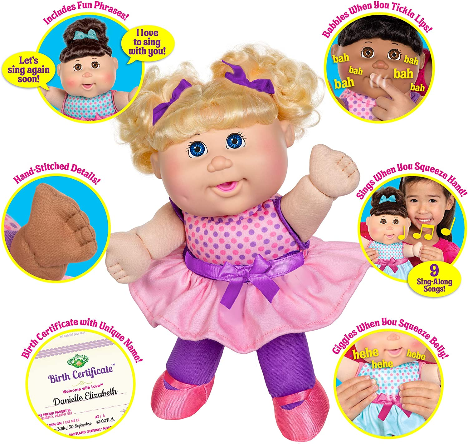 """Amazon.com: Cabbage Patch Kids Deluxe Babble 'n Sing Toddler in Pink  Fashion, 11"""" - Squeeze Hand, Doll Babbles, Giggles, Sings! 9 Sing-Along  Songs - Classic 1998 CPK Dolls!: Toys & Games"""