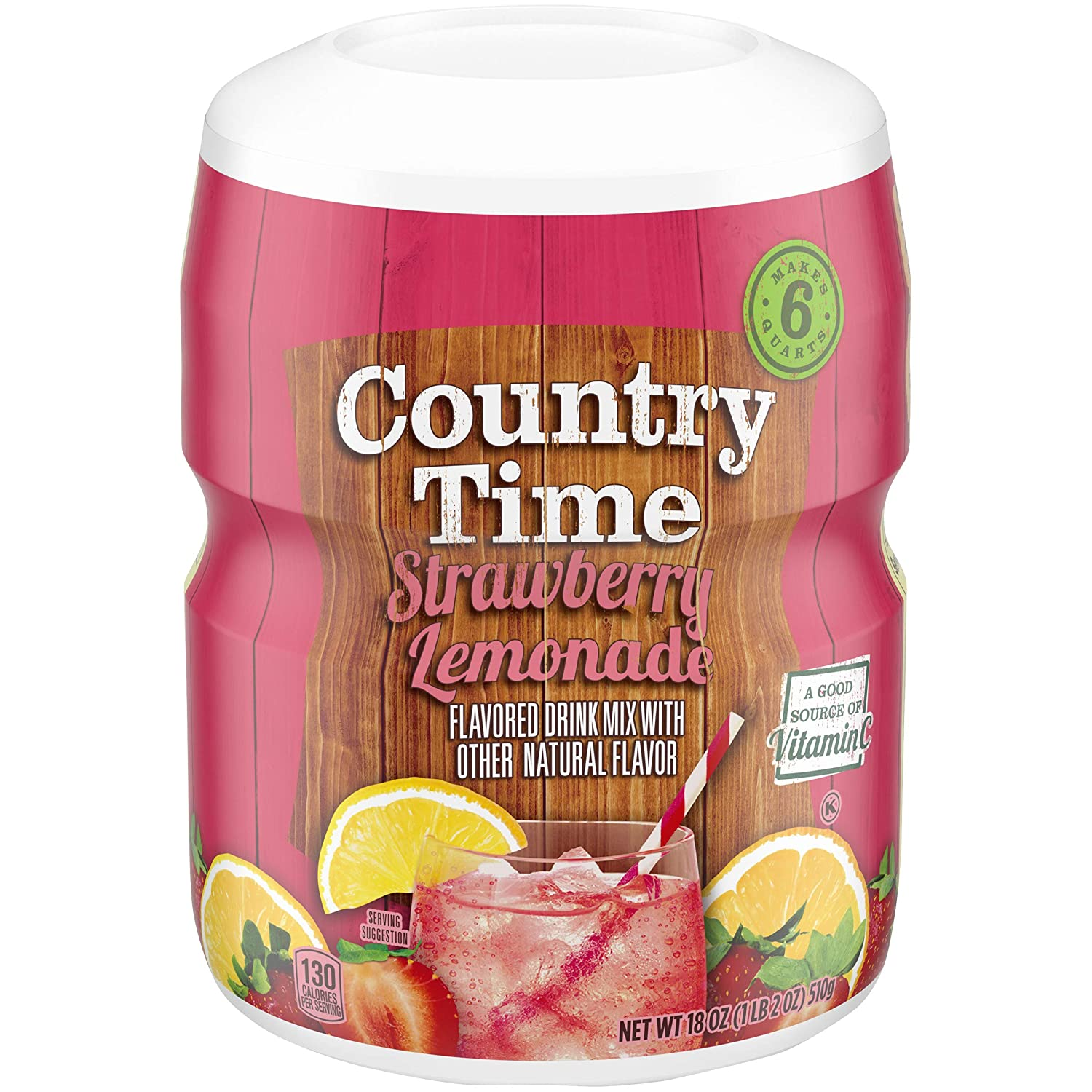 Country Time Strawberry Lemonade Drink Mix (18 oz Canisters, Pack Of 6)