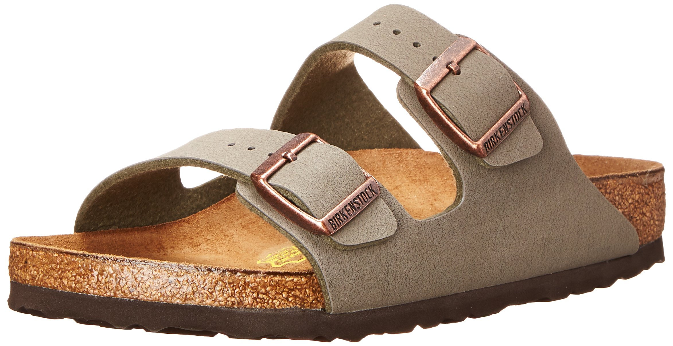Birkenstock Arizona-Birkibuc(tm) (Unisex), Stone Birkibuc&Trade 35 (US Women's 4-4.5) Regular by Birkenstock (Image #1)
