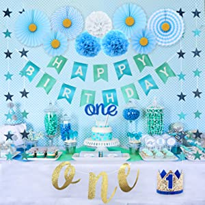 Party Inspo 1st Birthday Boy Decorations, Baby Boy First Birthday Decorations, 1st Birthday Highchair Banner, No.1 Baby Crown, ONE Cake Topper, Happy Birthday Banner, Baby Boy 1st birthday Party supplies