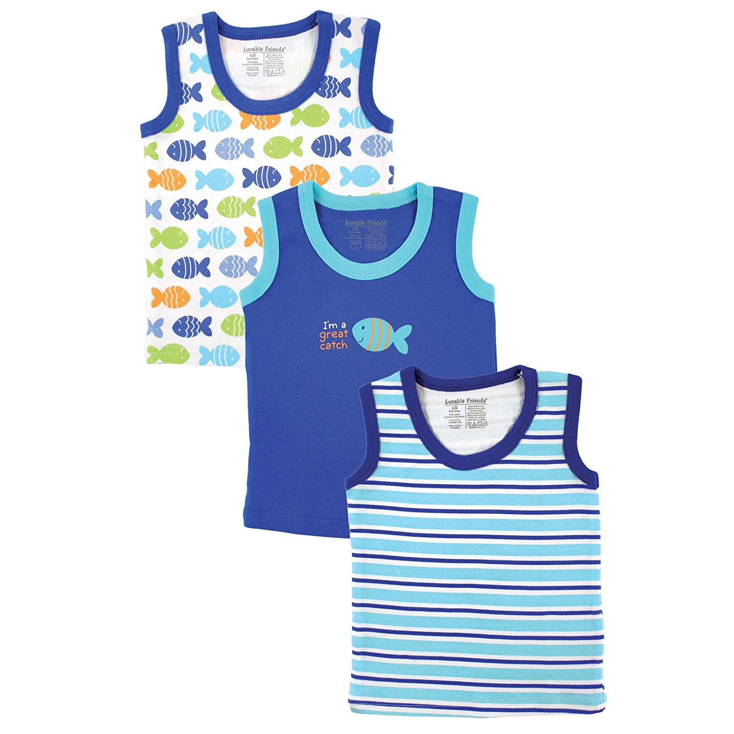 Luvable Friends Sleeveless Tee Tops, 3 Pack, Pink BabyVision 660168374346 PARENT