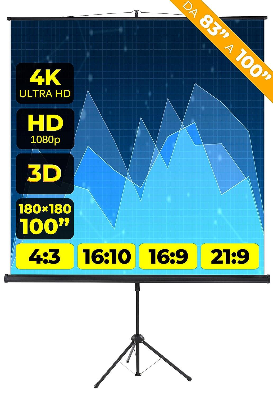 83 Pollici 150cm Multi Formato 4:3 16:9 16:10 150x150 1 Metro e Mezzo Leggero Schermo Proiettore 1mt Telo Proiettore Videoproiettore Schermo Videoproiezione 2 mt 4K HD Schermo Proiezione Treppiede