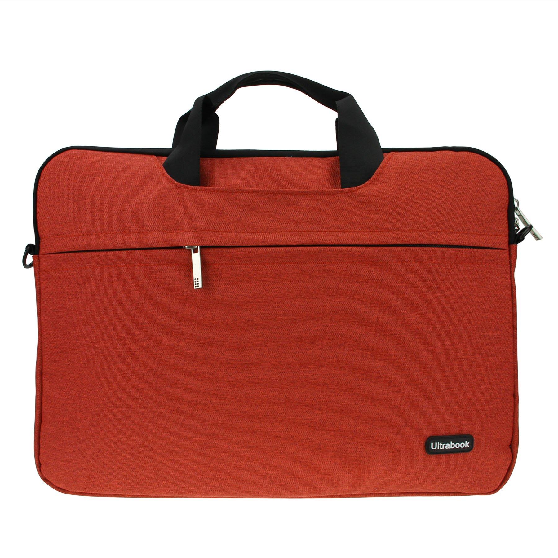 Slim Compact Lightweight 15 inch Adjustable Strap Computer Laptop/Notebook/Tablet/MacBook/iPad Handbag Messenger Shoulder Bag Business Briefcase Travel School Carrying Sleeve Case Tote (Orange 15'')