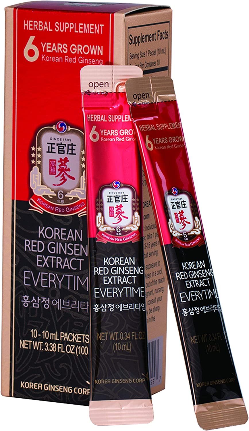 KGC Cheong Kwan Jang EveryTime 3000mg Korean Panax Red Ginseng Extract Portable Sticks for Healthy Immune Support and Energy Levels – 10 Stick Packs