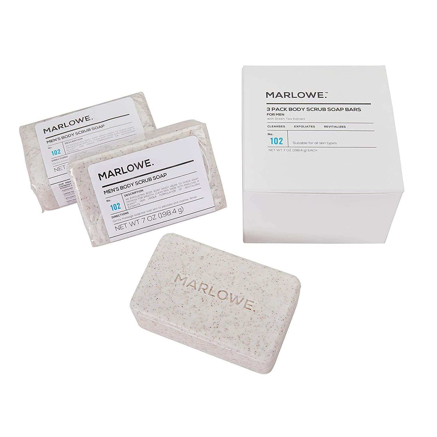 MARLOWE. No. 102 Men's Body Scrub Soap 7 oz (3 Bars) | Best Exfoliating Bar for Men | Made with Natural Ingredients | Green Tea Extract | Amazing Scent