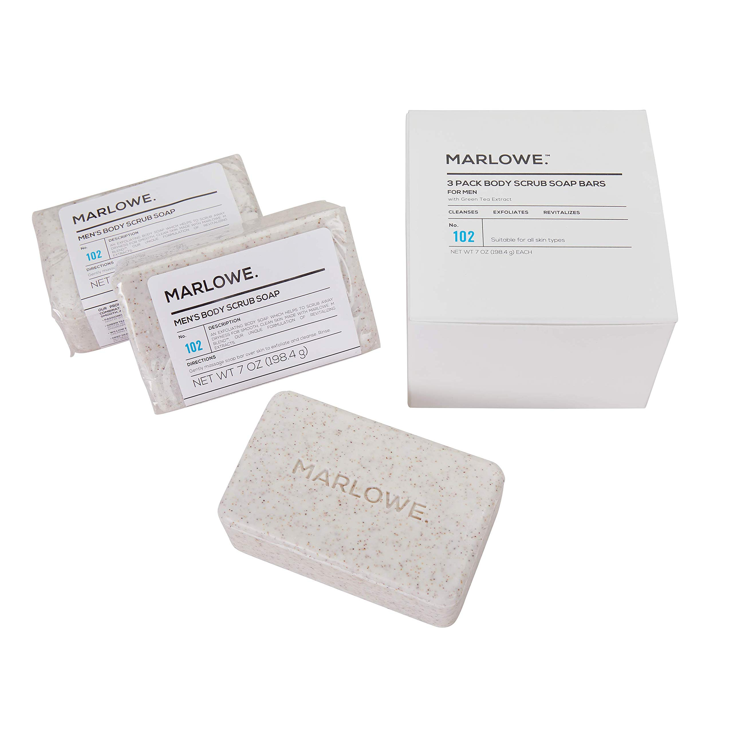 MARLOWE. No. 102 Men's Body Scrub Soap 7 oz (3 Bars) | Best Exfoliating Bar for Men | Made with Natural Ingredients | Green Tea Extract | Amazing Scent by Marlowe