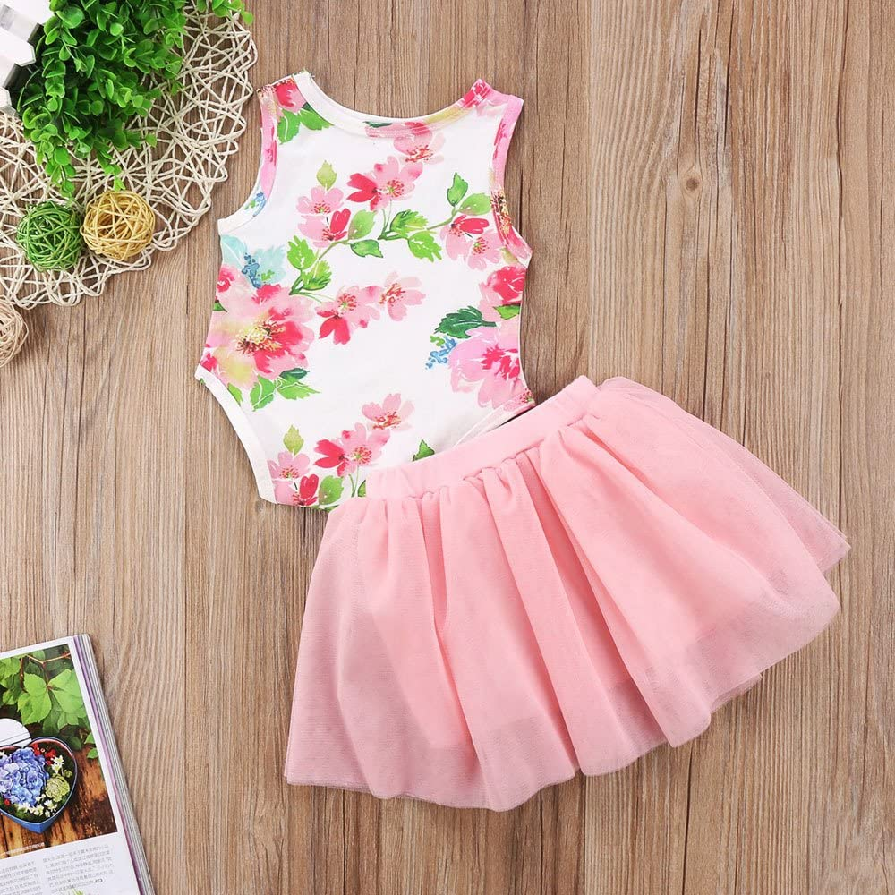 StyleZ Baby Girls First Birthday 2 Pcs Dress Outfit Sleeveless Floral Romper Top and Lace Tutu Skirt Dress