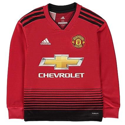 d776e7a5a Amazon.com   adidas 2018-2019 Man Utd Home Long Sleeve Shirt (Kids)    Sports   Outdoors