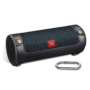 Fintie Funda Compatible con JBL Flip 5 - Carcasa Protectora de Cuero Sintético Mosquetón Desmontable Clip de Llavero Altavoz Bluetooth Portátil ...
