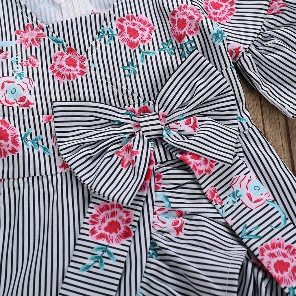Toddler Baby Girl Striped Floral Printed V Neck Flare Sleeve Bowknot Bandage Party Princess Dress