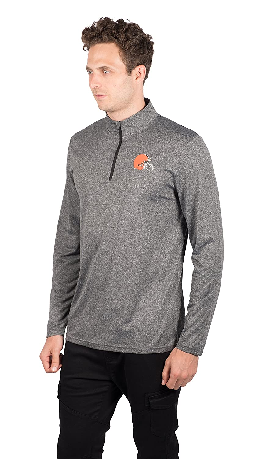 NFL Cleveland Browns Ultra Game Mens LS POLY Quarter ZIP TEE Heather Charcoal 18 Medium