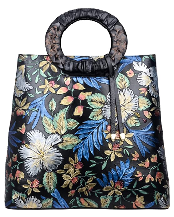 Pijushi Designer Floral Purses Women's Top Handle Handbag Leather Tote Bag Holiday Gift 6013 (New Black Floral)