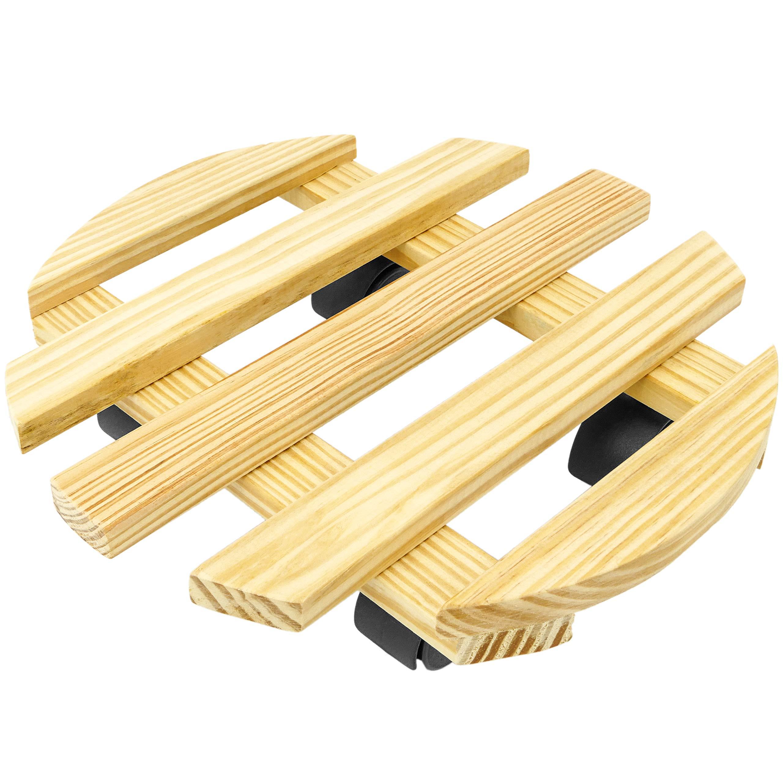 PrimeMatik Round Wooden Platform with Wheels 30 cm (KA096)