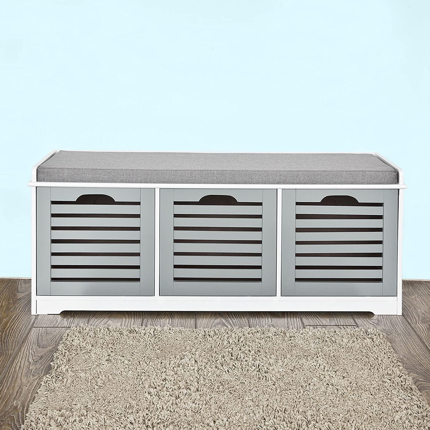 Haotian Storage Bench with 3 Drawers & Padded Seat Cushion, Hallway Bench Shoe Cabinet Mudroom Bench FSR23-HG