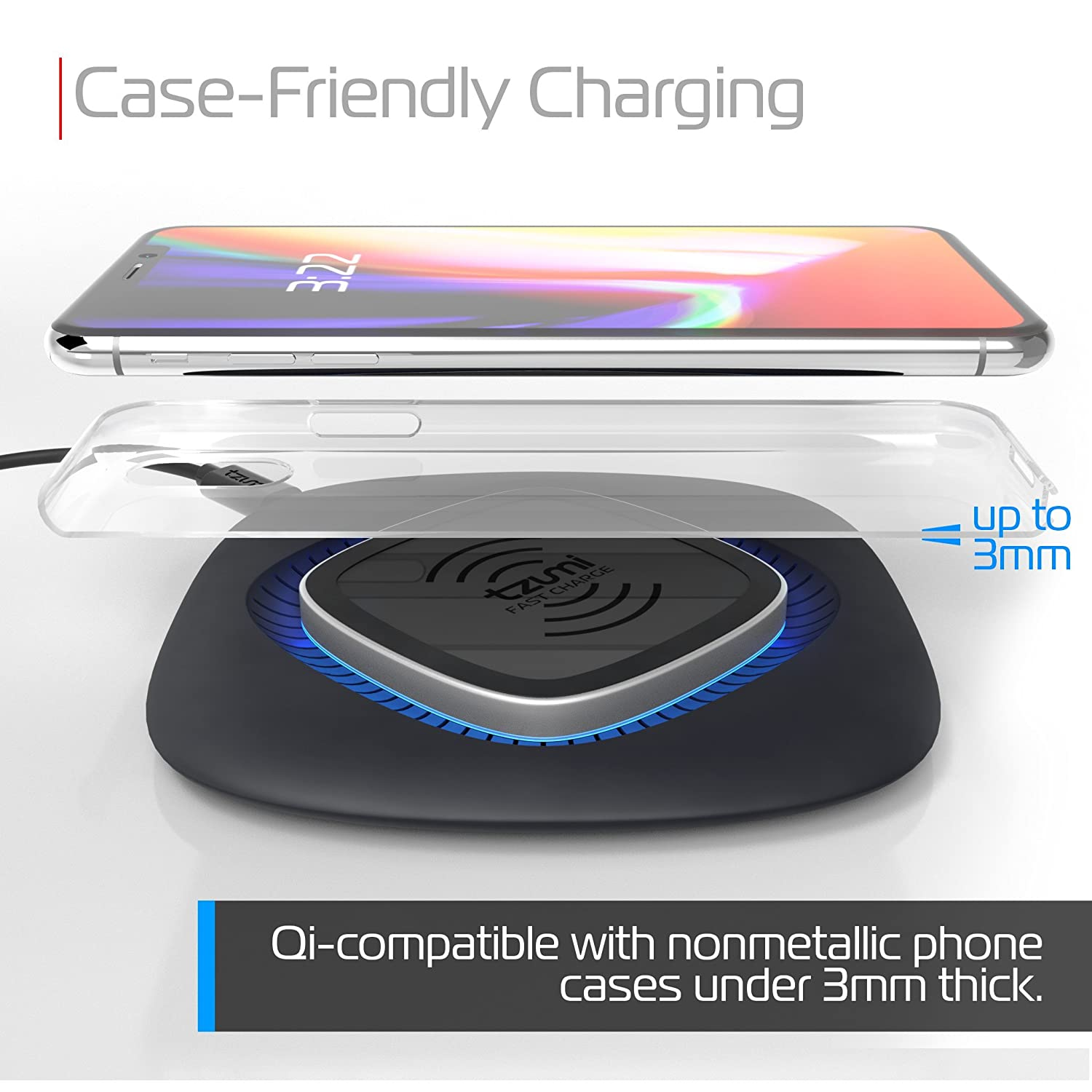 tzumi HyperCharge 10-Watt Wireless Fast Charger Pad for Qi-Compatible iPhones, Androids, and All Wireless Charging Smart Devices – for Home and ...