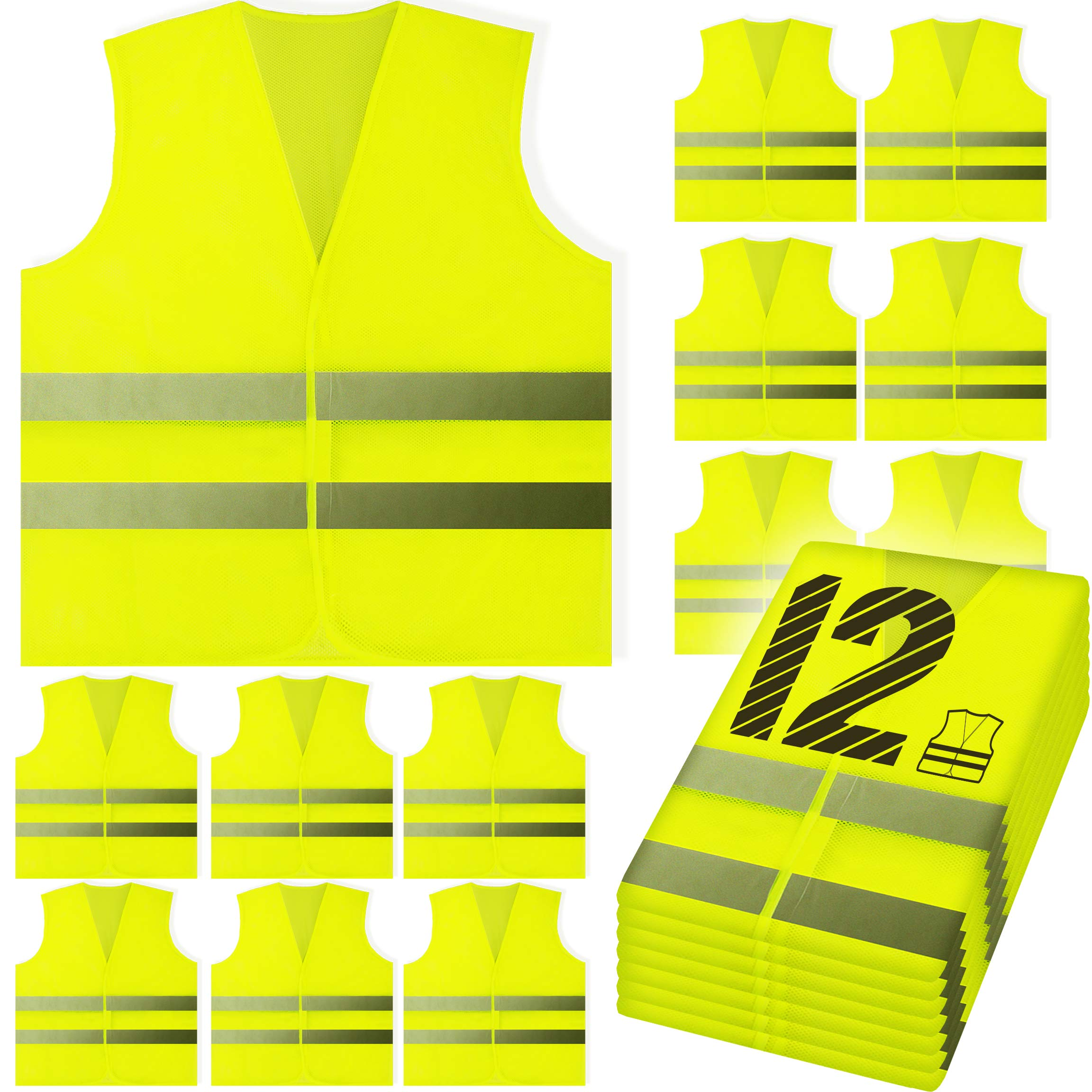 PeerBasics, 12 Pack Safety Vest, Yellow Reflective High Visibility, Hi Vis Silver Strip, Men & Women, Work, Cycling, Runner, Surveyor, Volunteer, Crossing Guard, Road, Construction (Yellow Mesh, 12)